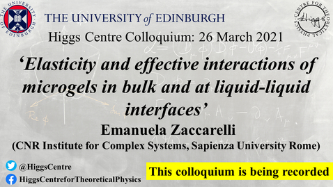 Thumbnail for entry Higgs Centre Colloquium: Emanuela Zaccarelli 'Elasticity and effective interactions of microgels in bulk and at liquid-liquid interfaces'