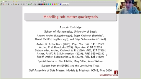 Thumbnail for entry Alastair Rucklidge Self-Assembly of Soft Matter 18 May 2020