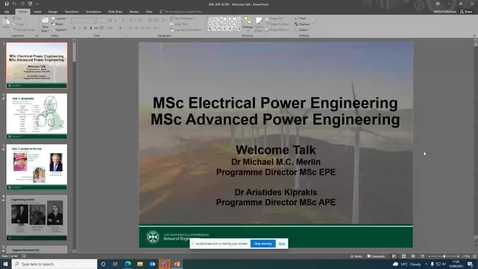 Thumbnail for entry MSc Electrical Power Engineering and MSc Advanced Power Engineering Welcome Meeting with Programme Director