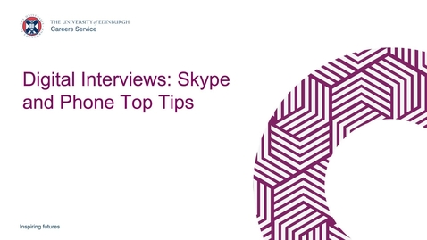 Thumbnail for entry Top Tips: Digital Interviews - Skype and Phone