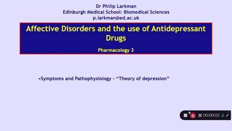Thumbnail for entry Pharmacology 3: Antidepressant Drugs - Part 2 Dr Phil Larkman