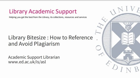 Thumbnail for entry Library Bitesize - Referencing and how to avoid plagiarism