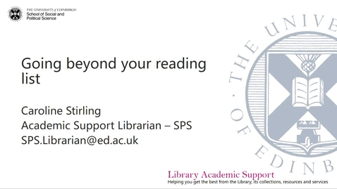 Thumbnail for entry SPS Going beyond your reading list