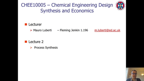 Thumbnail for entry Lecture 2 - Process Synthesis