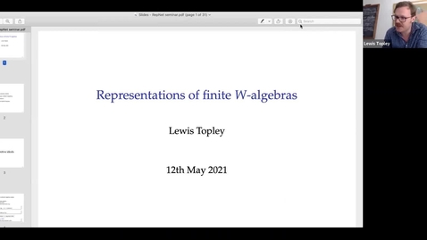 Thumbnail for entry 12 May -   Lewis Topley - Representations of finite W-algebras