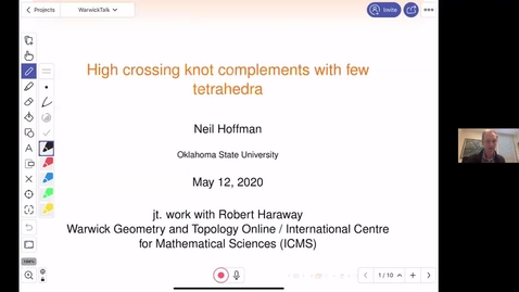 Thumbnail for entry High crossing knot complements with few tetrahedra - Neil Hoffman