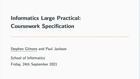 Thumbnail for entry Informatics Large Practical Coursework Specification