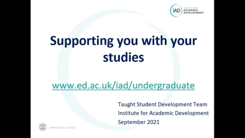 Thumbnail for entry Supporting you with your studies 2021