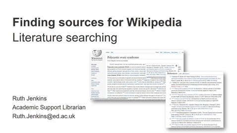 Thumbnail for entry Finding sources for Wikipedia (medical-related articles)