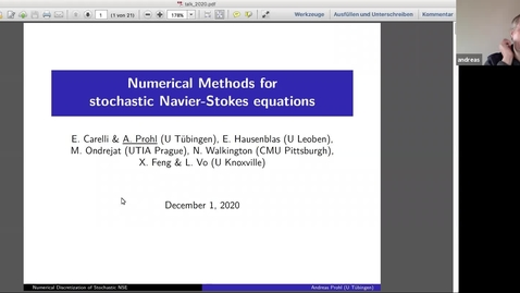 Thumbnail for entry One World Virtual Seminar Series - Stochastic Numerics and Inverse Problems: Andreas Prohl (Tübingen)
