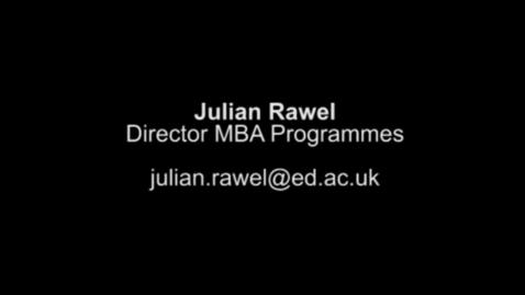 Thumbnail for entry Julian Rawel, MBA Director