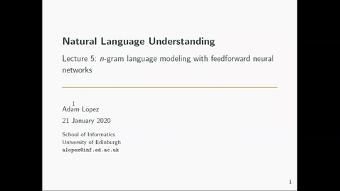 Thumbnail for entry NLU+ Lecture 5: Feed Forward Neural Networks