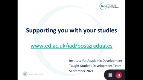 Thumbnail for entry Supporting you with your studies 2021 (PGT)