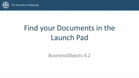 Thumbnail for entry SAP BusinessObjects 4.2 - Video 2 - Find your Documents in the Launch Pad