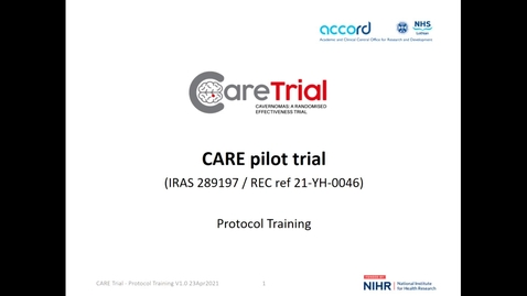 Thumbnail for entry Video 5 - CARE Study Training with the Trial Manager