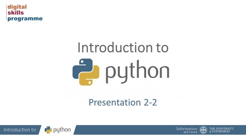 Thumbnail for entry Introduction to Python Part 2-2