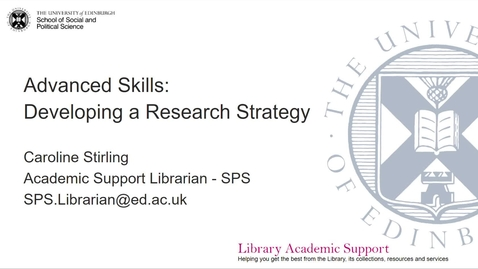 Thumbnail for entry SPS Developing a research strategy
