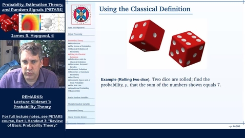 Thumbnail for entry Topic 12: Classical Probability (PETARS, Chapter 3)