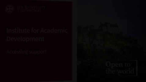 Thumbnail for entry Institute For Academic Development - Accessing Support