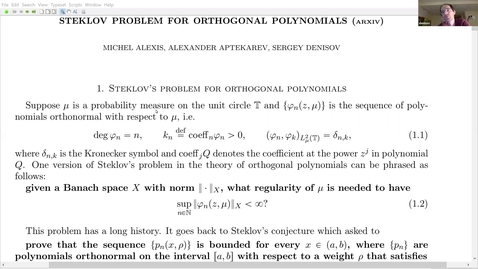 Thumbnail for entry Continuity of weighted operators, Muckenhoupt weights, and Steklov problem for orthogonal polynomials - Sergey Denisov