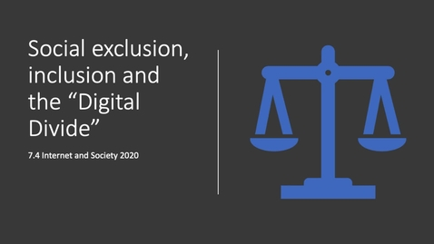 Thumbnail for entry Social exclusion and the Digital Divide
