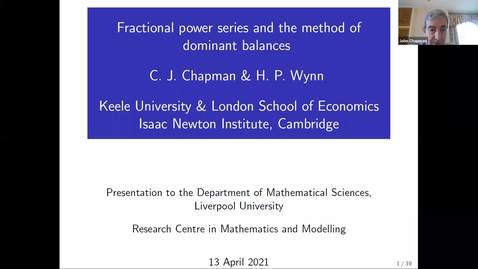 Thumbnail for entry  Fractional power series and the method of dominant balances - John Chapman