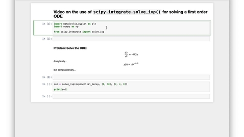 Thumbnail for entry Solving Differential Equations in Python: First order ODEs with solve_ivp