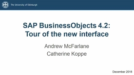 Thumbnail for entry SAP BusinessObjects 4.2: Tour of the New Interface - Lecture Recording