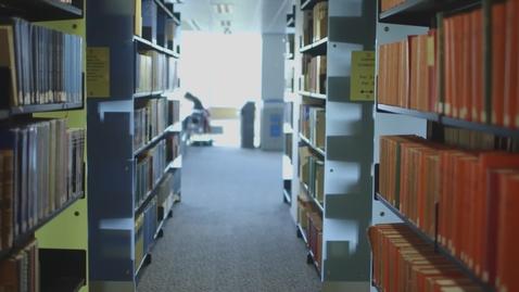 Thumbnail for entry University library shelves