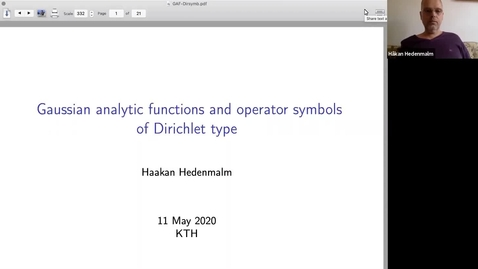 Thumbnail for entry Gaussian analytic functions and operator symbols of Dirichlet type - Håkan Hedenmalm