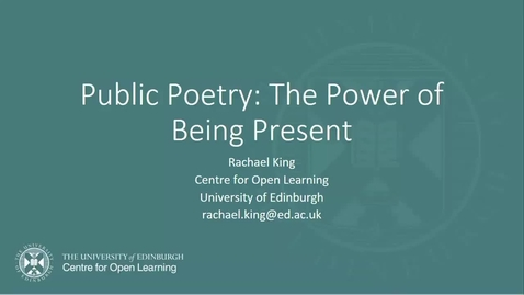 Thumbnail for entry Public Poetry - Rachael King