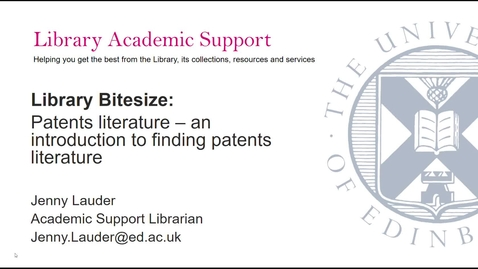 Thumbnail for entry Library Bitesize: Patents Literature - an introduction to  finding patents literature