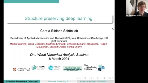 Thumbnail for entry 8 March 2021 - Carola-Bibiane Schönlieb (University of Cambridge) - Structure-preserving deep learning