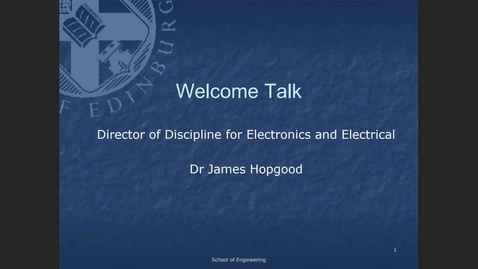 Thumbnail for entry Welcome Back Year 2 Electronics and Electrical Engineering programmes