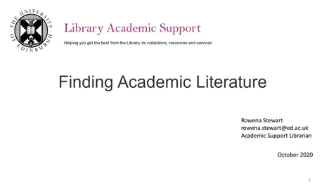 Thumbnail for entry IAD Finding Academic Literature for taught postgraduate students - Dissertation Festival March 2021