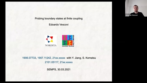 Thumbnail for entry South East Mathematical Physics Seminars: Edoardo Vescovi  - Probing boundary states at finite coupling