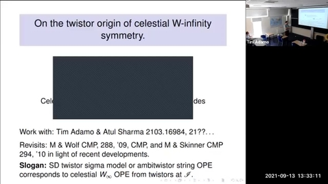 Thumbnail for entry Lionel Mason - On the twistor origin of celestial W-infinity symmetry (Celestial Sphere: holography, CFT and amplitudes)