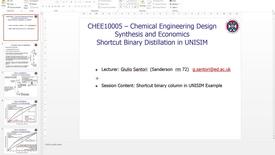 Thumbnail for entry Short Cut Binary Distillation Column in UNISIM