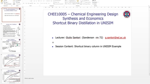 Thumbnail for entry Short Cut Binary Distillation Column in UNISIM
