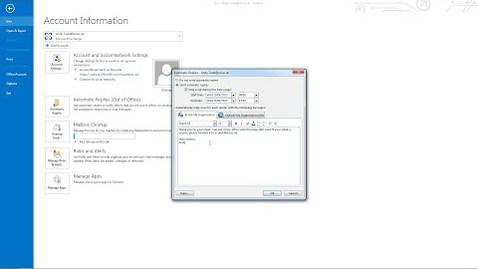 Thumbnail for entry MS Outlook 2013 Tutorial: Setting up and Out of Office reply