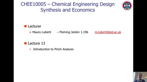Thumbnail for entry Lecture 13 - Introduction to Pinch Analysis