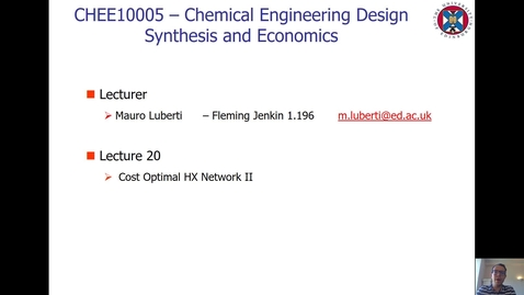 Thumbnail for entry Lecture 20 - Cost Optimal HX Network II