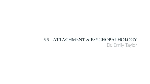 Thumbnail for entry Clinical Psychology of Children and Young People - Attachment and psychopathology - Part 1