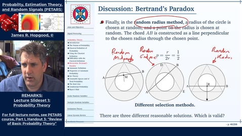 Thumbnail for entry Topic 13: Bertrand's Paradox (PETARS, Chapter 3)