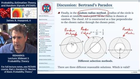 Thumbnail for entry Topic 13: Bertrand's Paradox (PETARS, Chapter 3)