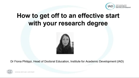 Thumbnail for entry (PGR only) How-to get off to an effective start with your research degree