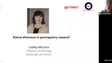 Thumbnail for entry Cross-college Seminar Series: Engaging Children and Young People – Seminar 4 | 21 April 2021 (Lesley McAra)