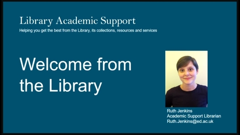 Thumbnail for entry Welcome from the Library