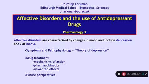 Thumbnail for entry Pharmacology 3: Antidepressant Drugs - Introduction Dr Phil Larkman