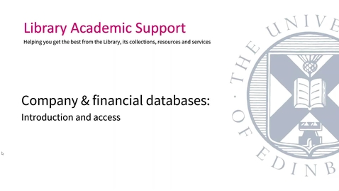 Thumbnail for entry Company & financial databases: Introduction and access